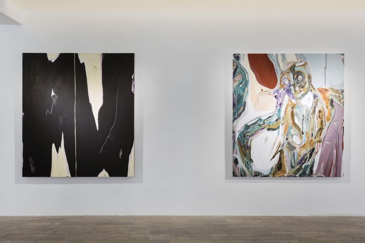 Two abstract paintings by Manuel Mathieu hanging in the gallery space, one black and white and the other in pink, yellow, green, and white hues, which come together to resemble a figure.