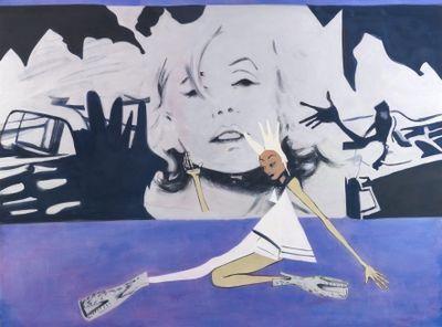 Moyna Flannigan, Past/Present (2021). Distemper on canvas. 157 x 212 cm.