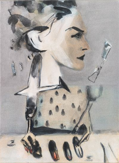 Moyna Flannigan, Silvery Forgetting (2020). Distemper on canvas. 40 x 30 cm.