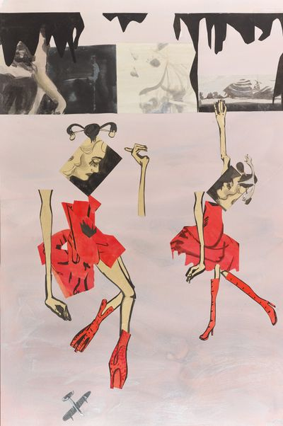 Moyna Flannigan, Wangels (collage) (2021). Paper, ink, and gouache. 145 x 97 cm.