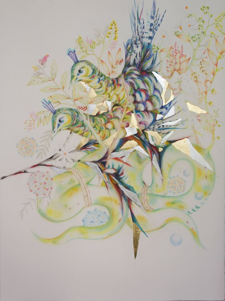 In a drawing by Soe Yu New, a coloured bird is pictured amongst fragments of silver and gold gilded shapes, as well as branches with leaves and flowers sprouting from them.