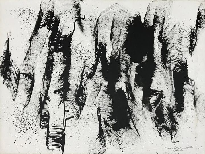 Abstract strokes of undulating black paint by Myint Soe cover a white background.