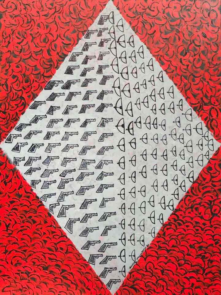 A painting by Aung Myint features a repeated pattern of guns pointing to wooden bows and arrows enclosed by a blood red diamond.