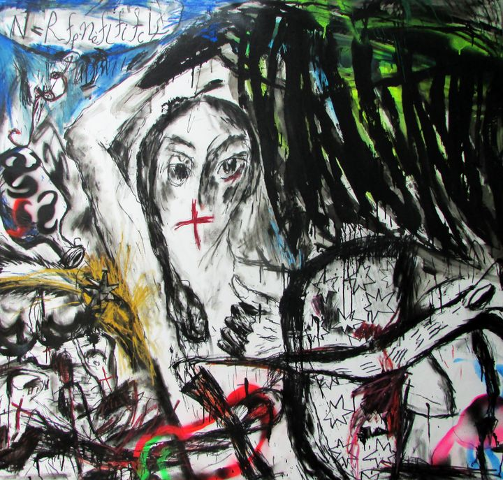 In a painting by Kaung Su, frantic black brushwork envelopes a single figure with a shadowed face surrounded by red crosses and star signs.