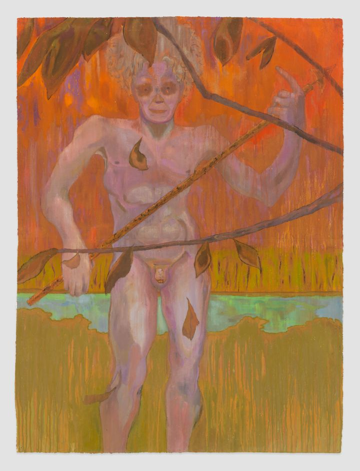 A figure with purple-hued flesh stands naked behind branches, against a yellow and orange background.