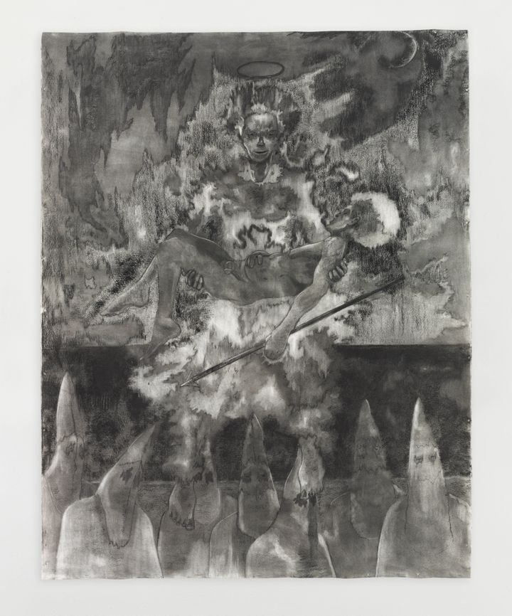 A large-scale black and white drawing features a figure holding another and surrounded by flames, while a group of hooded figures stand below.