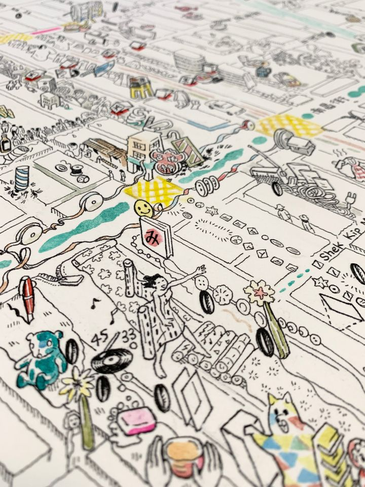 Detail of a map drawn in expressive black and white, with some introductions of colour, that captures Hong Kong's Sham Shui Po district.