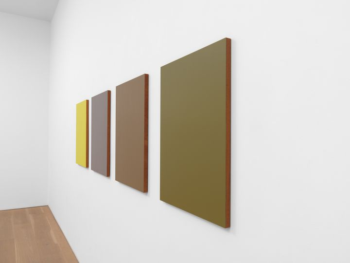 Four panels in shades of khaki, purple, and yellow are photographed at a slant, lining the wall of a white gallery.