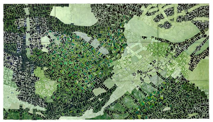 A painting by Rick Lowe features an aerial view of Oklahoma's Greenwood District, rendered in layers of paper in green and black.