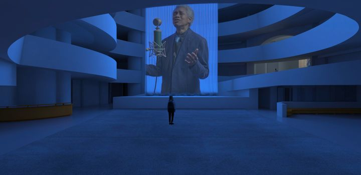 A person standing inside the Guggenheim looking at Wu Tsang's artwork of a curtain projection portraying Glenn-Copeland singing