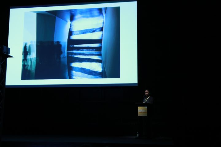 Chongbin Zheng presenting 'On Experimental Aesthetics' at FIELD MEETING Take 6: Thinking Collections, Alserkal Avenue, Dubai (25–26 January 2019). Courtesy Asia Contemporary Art Week.