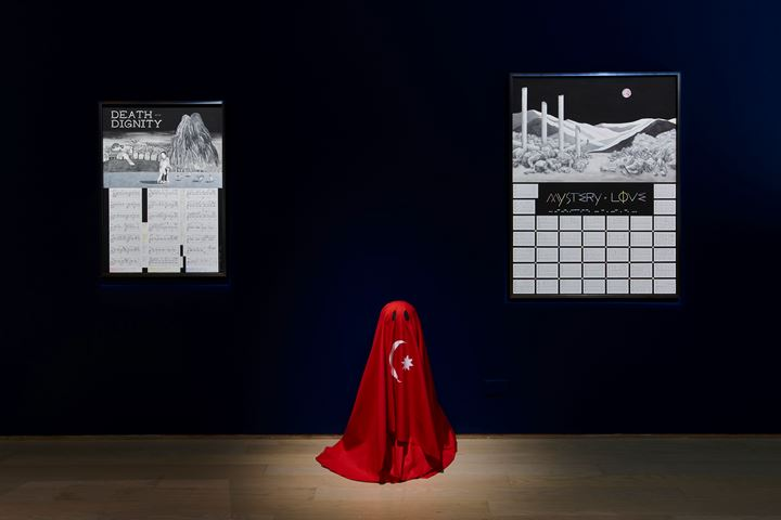 Ho Sin Tung, Death with Dignity (2019); Dead Skin (2019); Mystery of Love (2019) (left to right). Exhibition view:  Swampland 沼澤地, Hanart TZ Gallery, Hong Kong (9 January–29 February 2020). Courtesy Hanart TZ Gallery. Photo: South Ho Siu Nam.