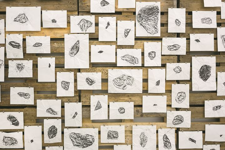 Rayyane Tabet, Basalt Shards (detail), 2017. From 'FRAGMENTS', 2016–ongoing. 1000 charcoal rubbings on paper, wooden pallets; dimensions variable. Installation view: Kunstverein Hamburg, 2017. Courtesy of the artist and Sfeir-Semler Gallery, Beirut and Hamburg. Photo: Fred Dott