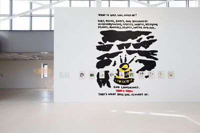 Marjetica Potrč, What Is DMZ Soil Made Of? (2021). Acrylic paint on wall.