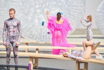 Monster Chetwynd performance at Art Basel, Basel, 2021.