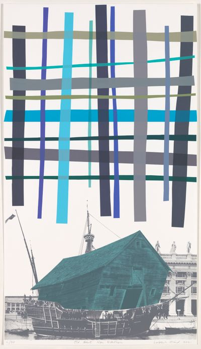 Lubaina Himid CBE, Old Boat, New Weather (2021). Screen print on cotton Somerset paper. 103×58.5cm. Edition of 30 + 6 APs.