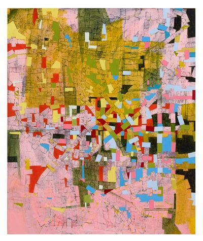 Rick Lowe, Untitled (2020). Acrylic and paper collage on canvas. 182.9 x 152.4 cm. The Menil Collection, Houston. Purchased with funds provided by the John R. Eckel, Jr. Foundation. © Rick Lowe Studio. Photo: Thomas Dubrock.