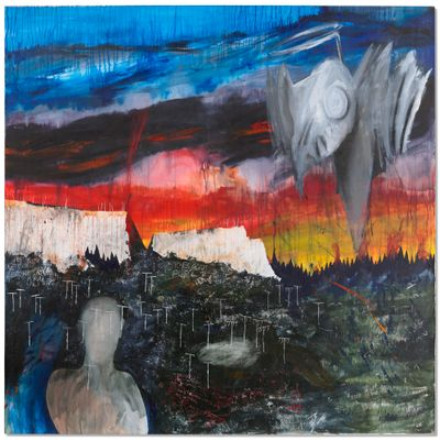 Stanley Donwood, Get Out Before Saturday (1999). Acrylic on canvas. 167.9 x 167.9cm.