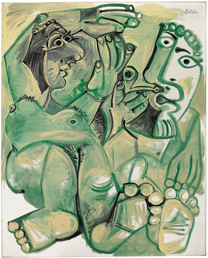 Pablo Picasso, Homme et femme nus (1968). Oil and Ripolin on canvas. Courtesy HE Art Museum.