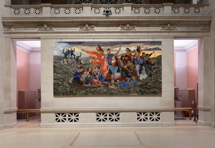 Kent Monkman, Resurgence of the People (2019). Exhibition view: mistikôsiwak (Wooden Boat People), The Met Fifth Avenue, New York (19 December 2019–9 April 2020). Courtesy of the Metropolitan Museum of Art. Photo: Anna Marie Kellen.