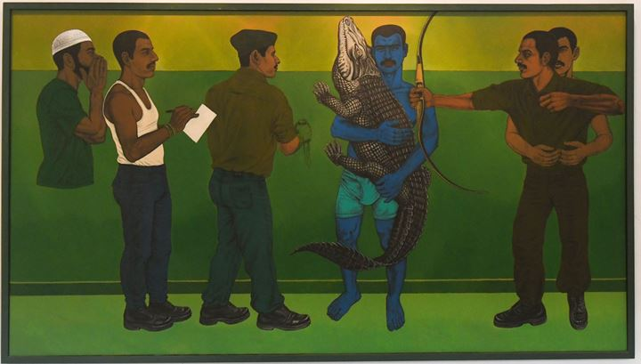 Anwar Saeed, A Casual State of Being in a Soul Hunting Haven (2017). Acrylic on canvas. 152 x 274 cm. Courtesy the artist.