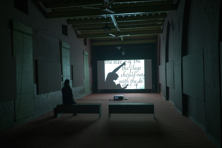 John Akomfrah, Expeditions 1: Signs of Empire (1983). Exhibition view: between the sun and the moon, Lahore Biennale, Tollinton Market, Lahore (26 January–29 February 2020). Courtesy Lahore Biennale Foundation.