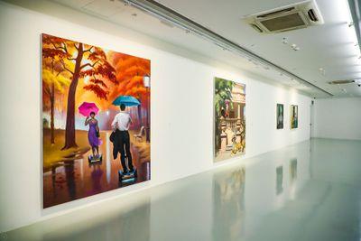 """王兴伟,《再次为了那颗星》,2019。展览现场:""""绝地通天"""",chi K11美术馆,上海(2020年11月10日至2021年2月28日)。图片提供:chi K11美术馆。"""