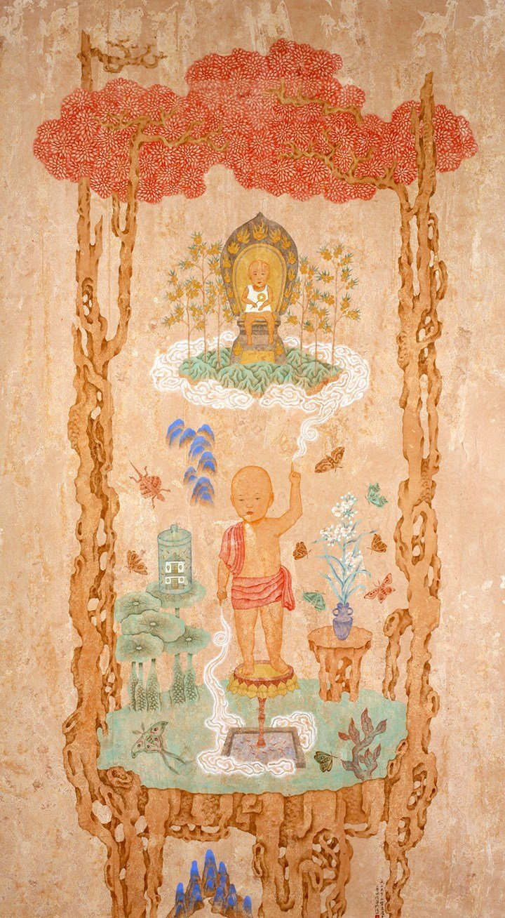 Pan Hsin-hua, Heaven and Earth No. 1 (2008). Ink colour on paper. 215 x 121 cm. Courtesy the artist and Asia Art Center, Taipei/Beijing.