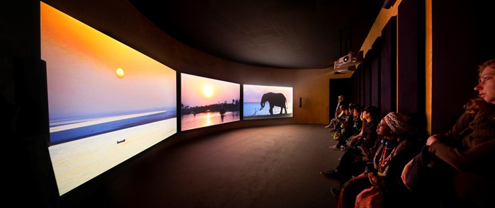 John Akomfrah, The Elephant in the Room – Four Nocturnes (2019). Three-channel HD colour video installation, 7.1 sound. Exhibition view: Ghana Pavilion, May You Live in Interesting Times, 58th International Art Exhibition - La Biennale di Venezia (11 May–24 November 2019). Co-commissioned by the Ministry of Tourism, Arts and Culture of Ghana, Sharjah Art Foundation, and Smoking Dogs Films with support from Lisson Gallery. Photo: David Levene.