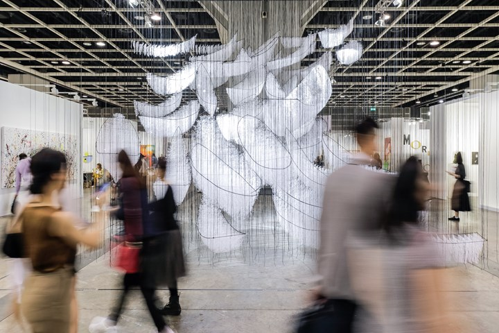 Chiharu Shiota, Where Are We Going? (2017–2018). Exhibition view: Encounters, Art Basel in Hong Kong (29–31 March 2019). Courtesy Ocula. Photo: Charles Roussel.