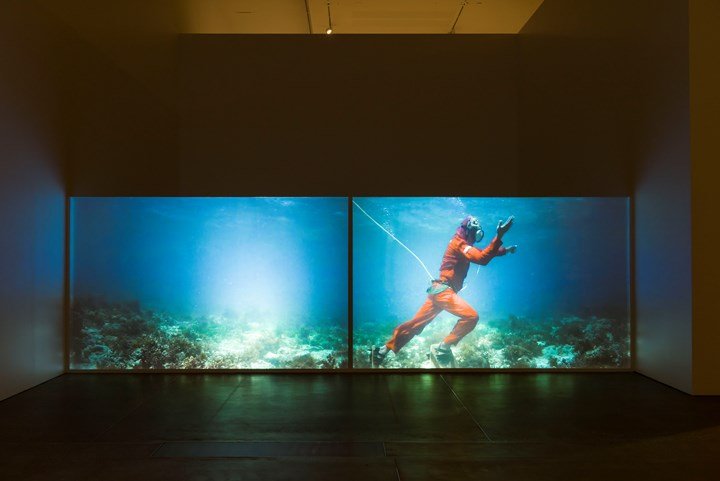 """Martha Atienza, Our Islands 11°16'58.4""""N 123°45'07.0""""E (2017) (still). Single-channel HD video, colour. 72 min, loop. Exhibition view: 9th Asia Pacific Triennial of Contemporary Art (APT), Queensland Art Gallery   Gallery of Modern Art, Brisbane (24 November 2018–28 April 2019). Courtesy the artist and Queensland Art Gallery   Gallery of Modern Art. Photo: Natasha Harth."""