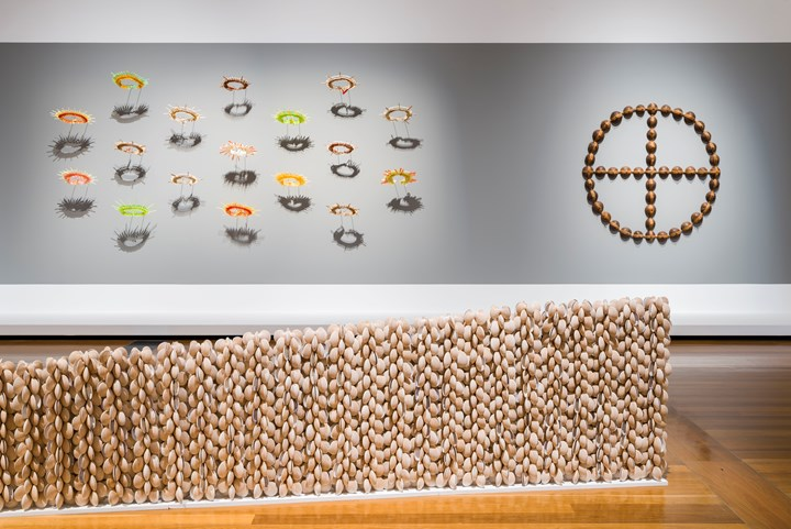 Tungaru: The Kiribati Project, Te Tai – Te Mae Ni Maie (headdress for dancing) (2017–2018); Te ma (Fish trap) (2014) and Te Nii (the giver of life) (2014). Exhibition view: 9th Asia Pacific Triennial of Contemporary Art (APT), Queensland Art Gallery   Gallery of Modern Art, Brisbane (24 November 2018–28 April 2019). Courtesy the artists and Queensland Art Gallery   Gallery of Modern Art. Photo: Natasha Harth.