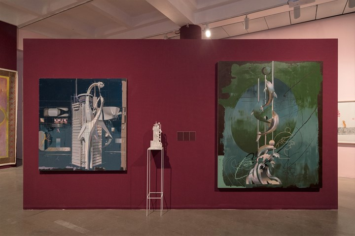 Cui Jie, Escape (2017); Chongqing Marriott Hotel (2019); Dolphins Square (2019) (left to right). Exhibition view: An Opera for Animals, Rockbund Art Museum, Shanghai (22 June–25 August 2019). Courtesy Rockbund Art Museum.
