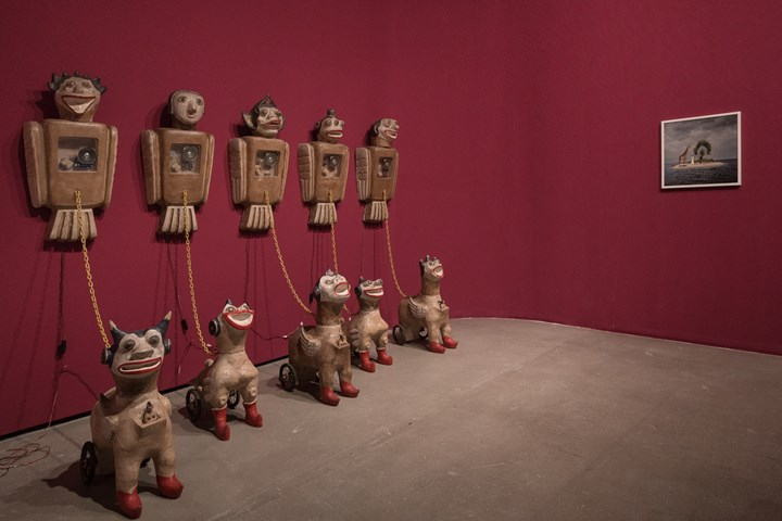 Heri Dono, Born and Freedom (2004); Yee I-Lann, The Ch'i_lin Of Calauit (2005) (left to right). Exhibition view: An Opera for Animals, Rockbund Art Museum, Shanghai (22 June–25 August 2019). Courtesy Rockbund Art Museum.