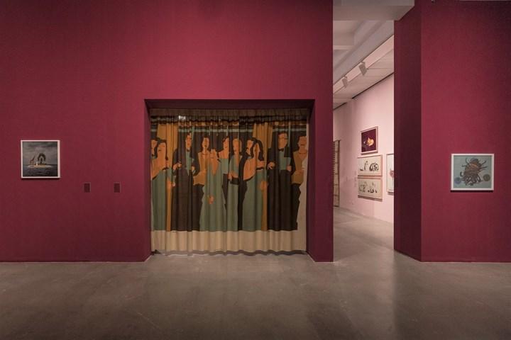 Yee I-Lann, The Ch'i_lin Of Calauit (2005); Beatriz González, Interior Decoration (1981); Shuvinai Ashoona, Tentacles (2018) (left to right). Exhibition view: An Opera for Animals, Rockbund Art Museum, Shanghai (22 June–25 August 2019). Courtesy Rockbund Art Museum.