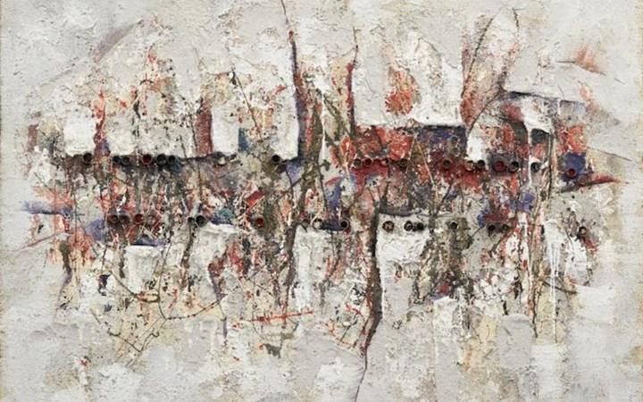Minoru Onoda, SAKUHIN II (1960) (detail). Oil, sand, plaster, pipe, on plywood. 97 x 131 x 7.5 cm. Courtesy Anne Mosseri-Marlio Galerie.