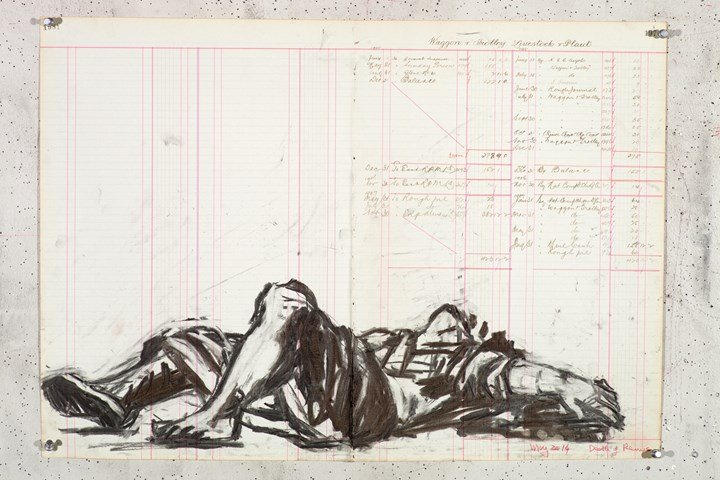 William Kentridge, Dead Remus (2014–2016). Charcoal on found ledger pages. 47 x 66.5 cm. Courtesy © the artist.