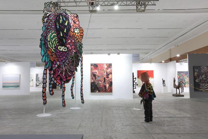Eko Nugroho, Moving Landscape (2015); Happy to Be Alienated (2019) (left to right). Exhibition view: Spot sector, Art Jakarta, Jakarta, (30 August–1 September 2019). Courtesy Art Jakarta.