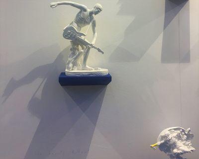 The Bounty Killart, Guitar Hero (2016). Plastic plaster. 40 x 32 x 17 cm; The Bounty Killart, Cielito lindo (2017). Plastic plaster. 28 x 25 15 cm. Exhibition view: Marcorossi Artecontemporanea, Arte Fiera, Bologna (2–5 February 2018). Photo: Stephanie Bailey.