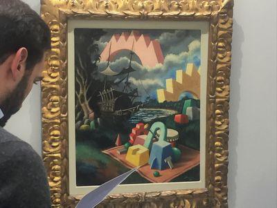 Alberto Savinio, Senza Titolo (1930). Oil on canvas. 64 x 53 cm. Exhibition view: Mazzoleni, Arte Fiera, Bologna (2–5 Febuary 2018) Photo: Stephanie Bailey.