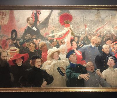 Ilya Repin, 17 October 1905 (1907). Oil on canvas. 184 x 323 cm. Exhibition view: Revolutija: From Chagall to Malevich, from Repin to Kandinsky, Museo d'Arte Moderna di Bologna (12 December 2017–13 May 2018). Photo: Stephanie Bailey.