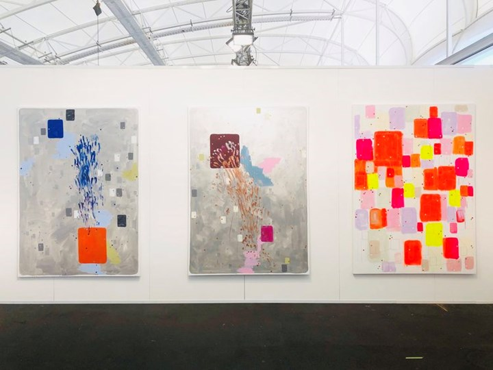 John Reynolds, Centennial Park (The Silver Paintings) #3 (2019); Centennial Park (The Silver Paintings) #4 (2019); HeadMap Footage #9 (2019) (left to right). Exhibition view: Starkwhite, Auckland Art Fair, The Cloud, Auckland (2–5 May 2019). Courtesy Starkwhite.