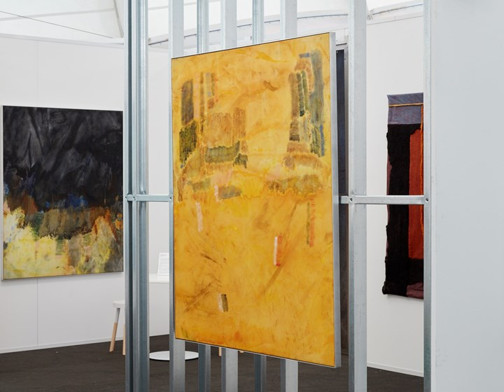 Matt Arbuckle, Welcome (2019). Acrylic and oil stick on knitted polyester, framed in aluminium. 163 x 132 cm (right); The Doing (2019). Acrylic and oil stick on knitted polyester, framed in aluminium. 163 x 132 cm (left). Exhibition view: Parlour Projects, Auckland Art Fair, The Cloud, Auckland (2–5 May 2019). Courtesy Parlour Projects.