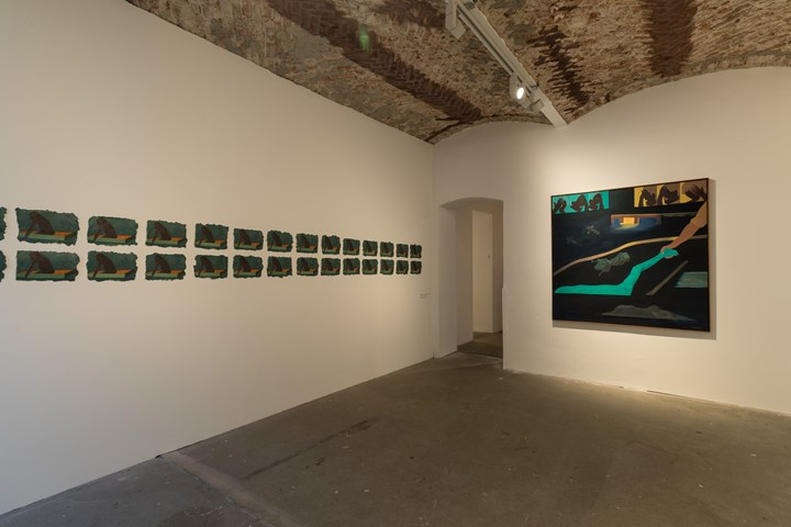 Beatriz González, 1/500 (1992) (left); Contrapaeces (1996) (right). Exhibition view: Beatriz González, Retrospective 1965–2017, KW Institute for Contemporary Art, Berlin (13 October 2018–6 January 2019). Courtesy KW Institute for Contemporary Art. Photo: Frank Sperling.