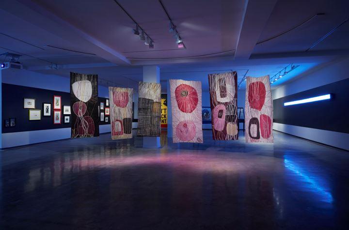 Noŋgirrŋa Marawili, TK (TK). Exhibition view: NIRIN, 22nd Biennale of Sydney, Museum of Contemporary Art Australia, Sydney (14 March–8 June 2020). Courtesy Biennale of Sydney. Photo: Zan Wimberley.