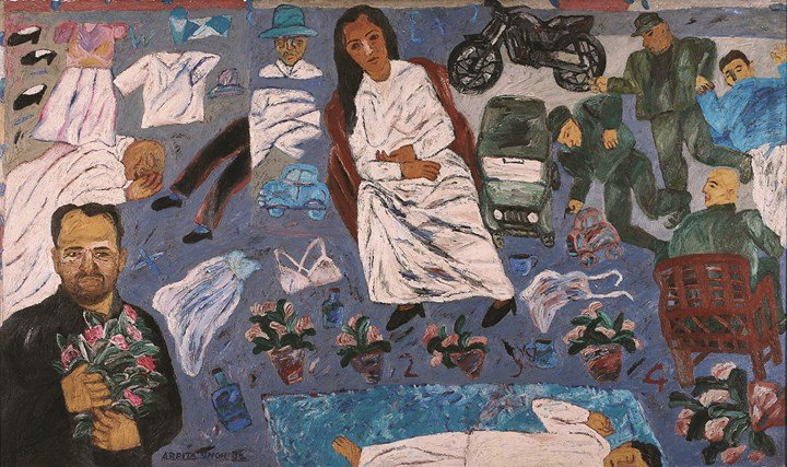 Arpita Singh, What are you doing here (2000). Courtesy the artist and Kiran Nadar Museum of Art, New Delhi.