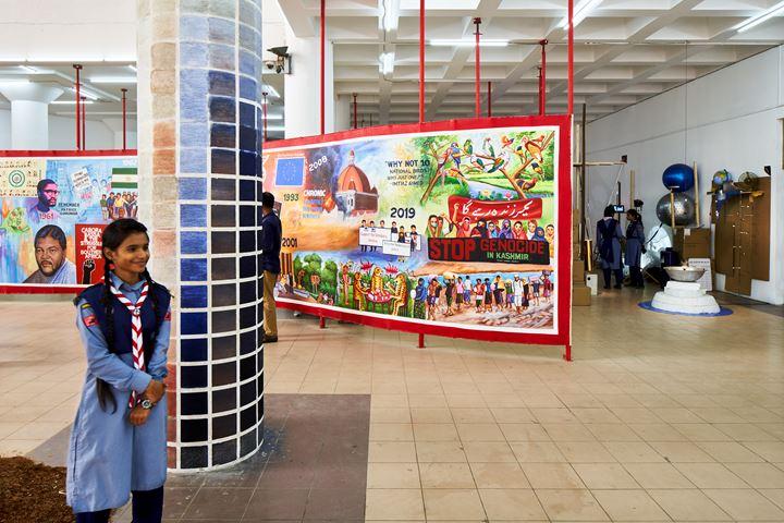 SAVVY x Jothashilpa, Geographies of Imagination; and Mizanur Rahman Chowdhury, LOVE LETTER TO THE LAST SUN (2019–2020). Mixed media. Exhibition view: Seismic Movements, Dhaka Art Summit, Shipakala Art Academy (7–15 February 2020). Commissioned and produced by Samdani Art Foundation for DAS 2020. Courtesy the artists and Samdani Art Foundation. Photo: Randhir Singh.