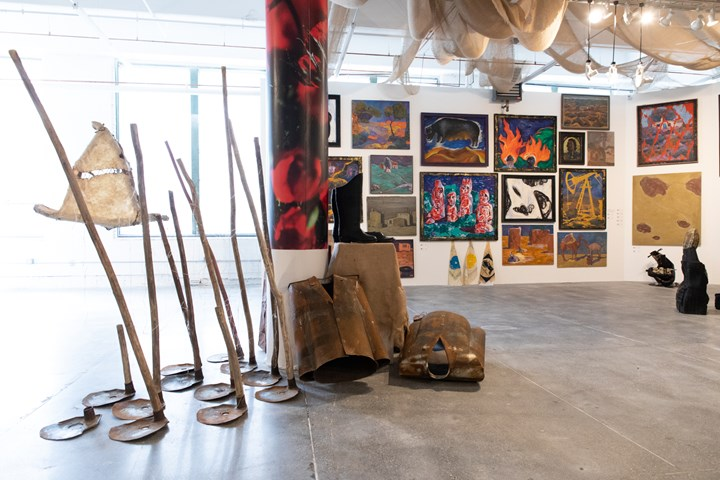 Exhibition view, Focus Kazakhstan, Telling Tales, Thinking Collection, A Survey Exhibition of Kyzyl Tractor Art Collective, Mana Contemporary, 2018, Courtesy Asia Contemporary Art Week (ACAW), Photograph Michael Wilson
