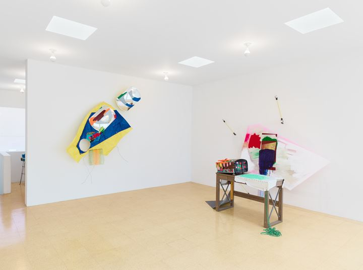 Exhibition view: Jessica Stockholder, Digital Thoughts, 1301PE, Los Angeles (18 January–29 February 2020). Courtesy 130PE. Photo: Marten Elder.