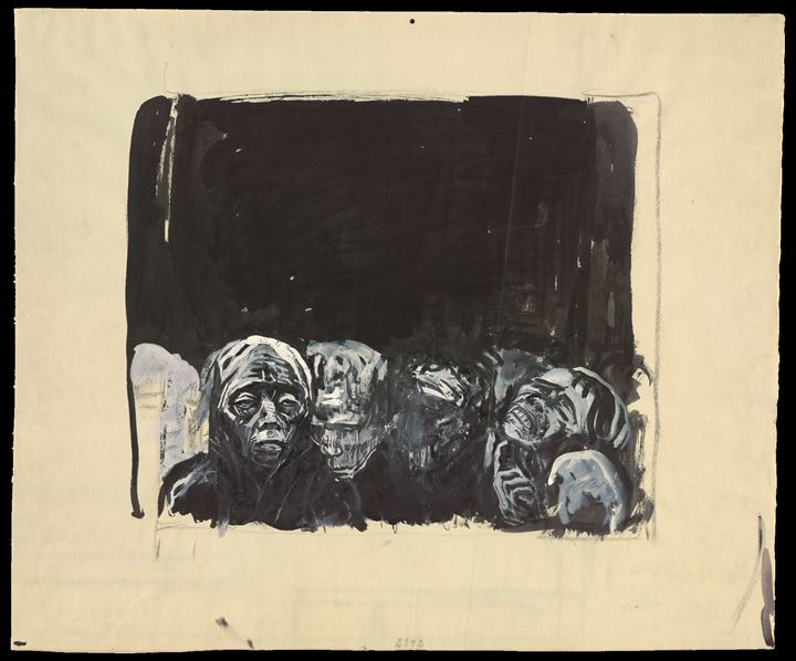 Käthe Kollwitz, The People (before 1923). Brush and black ink with white gouache over charcoal on laid paper. Getty Research Institute, Los Angeles. Gift of Dr Richard A. Simms in honor of Hildegard Bachert. © 2019 Artists Rights Society (ARS), New York.